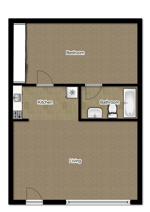 One Bedroom 480 Sqft