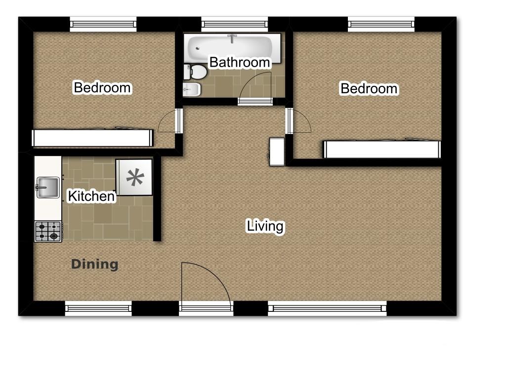 Two Bedroom 724 Sqft