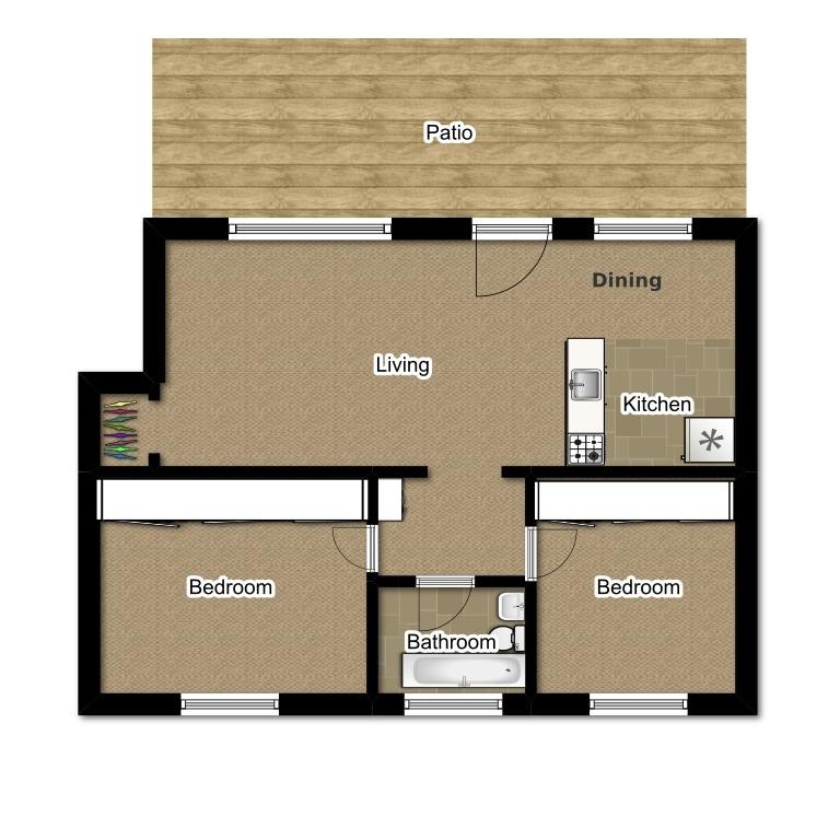 Two Bedroom 730 Sqft