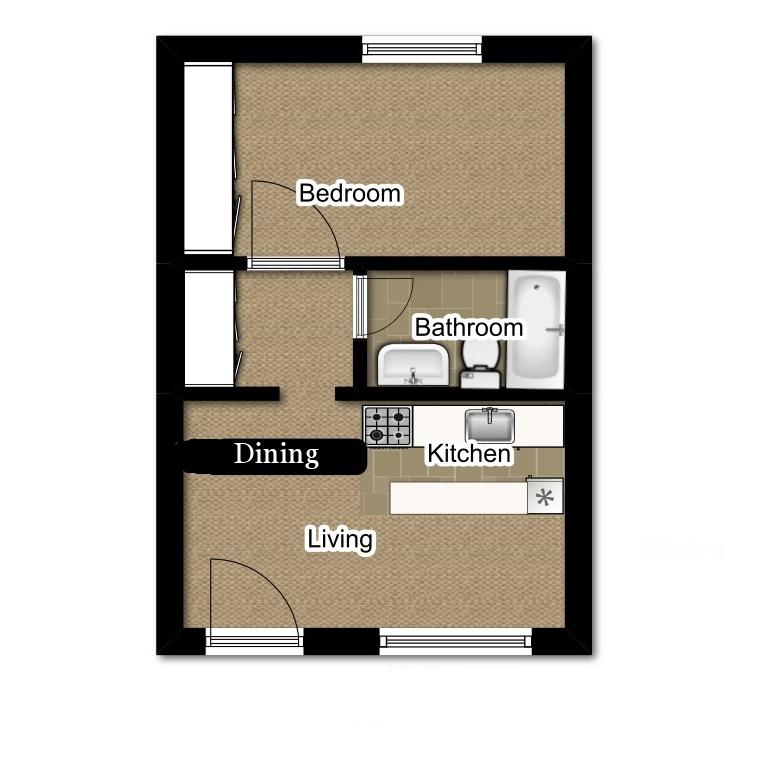 One Bedroom 608 Sqft