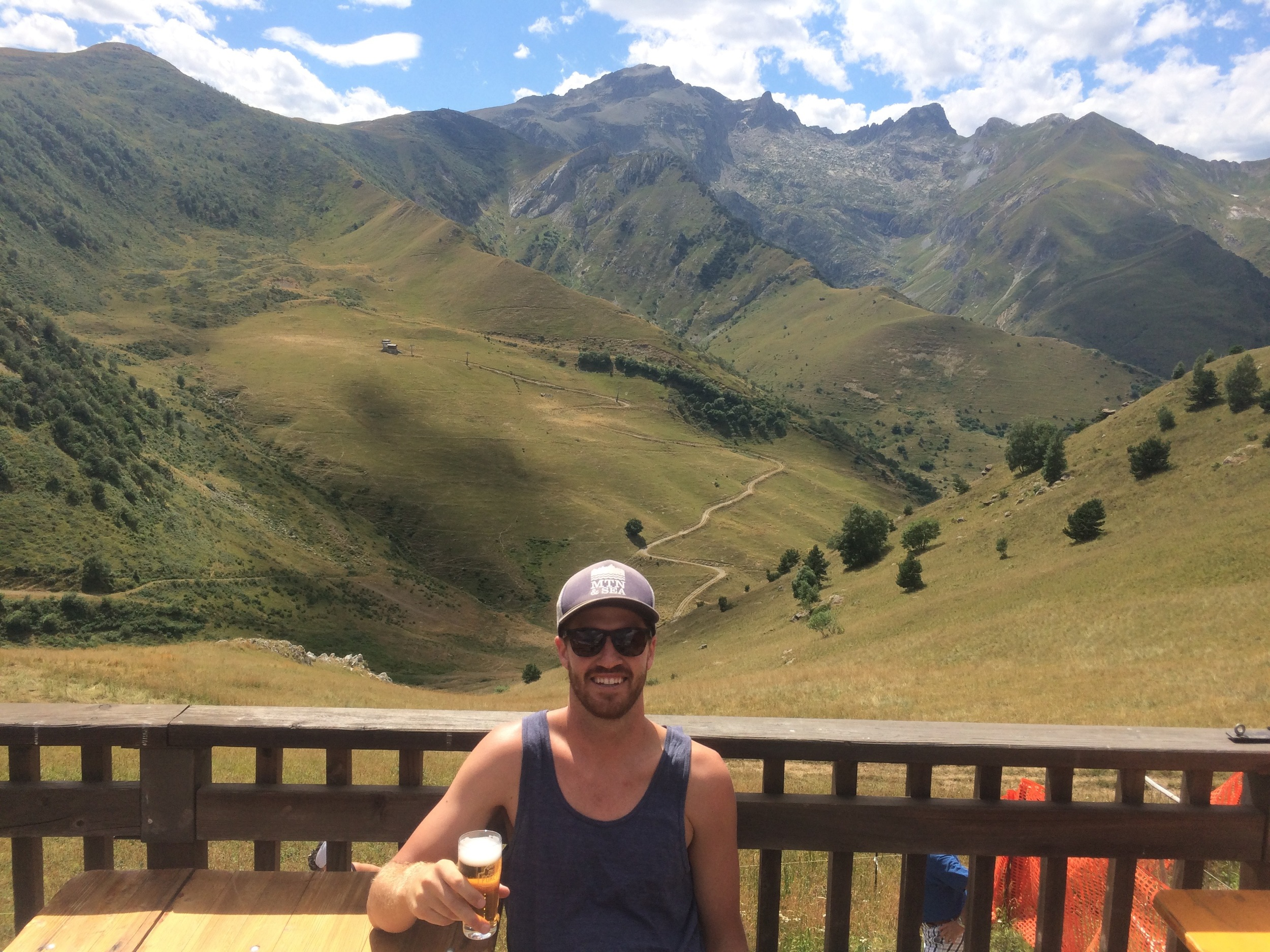 Celebratory (crappy) beer at the summit