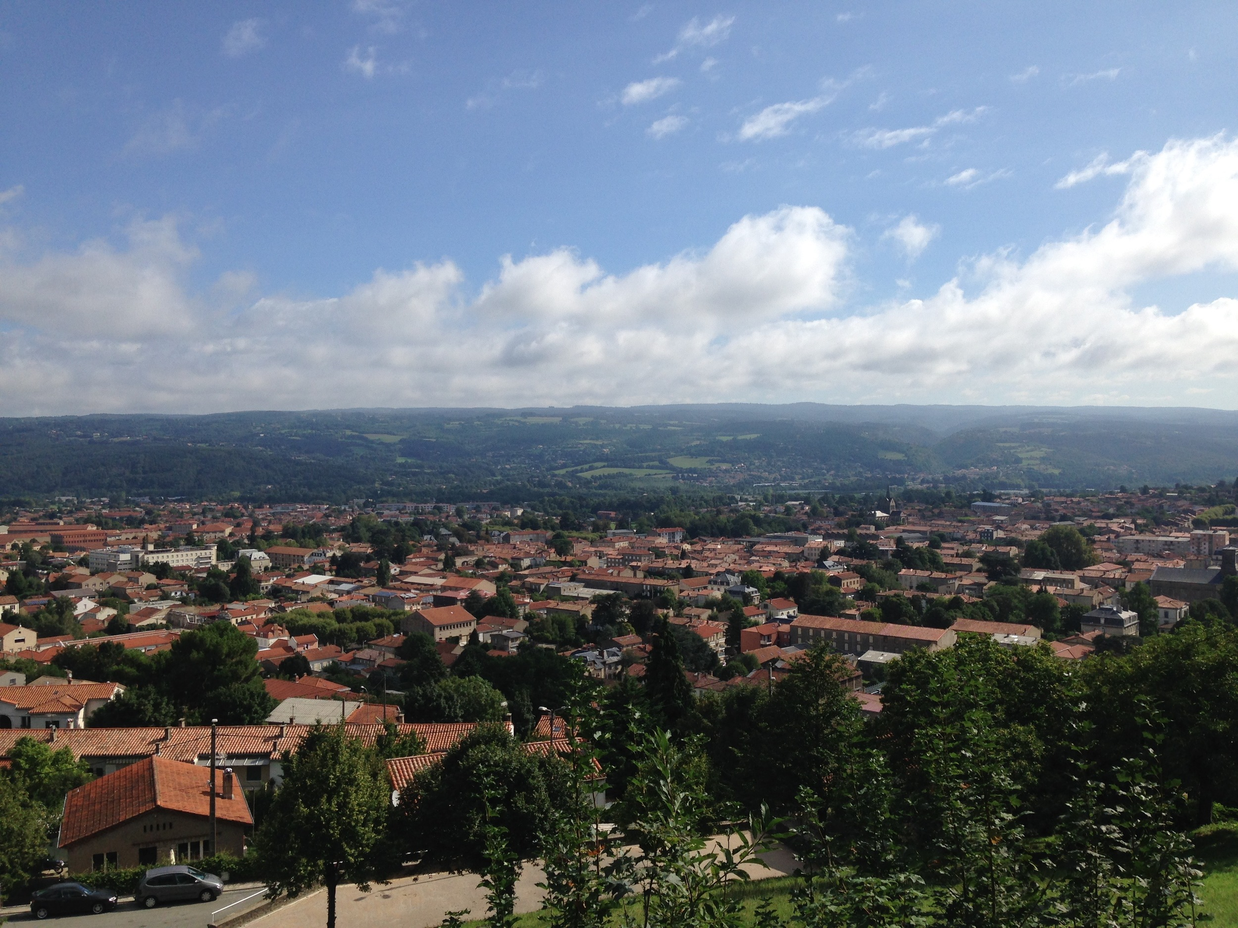 The view back to Mazamet and the distant Languedoc from the start of the climb