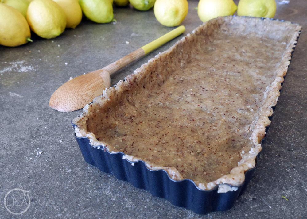 hazelnut crusted lemon tart (dairy free)