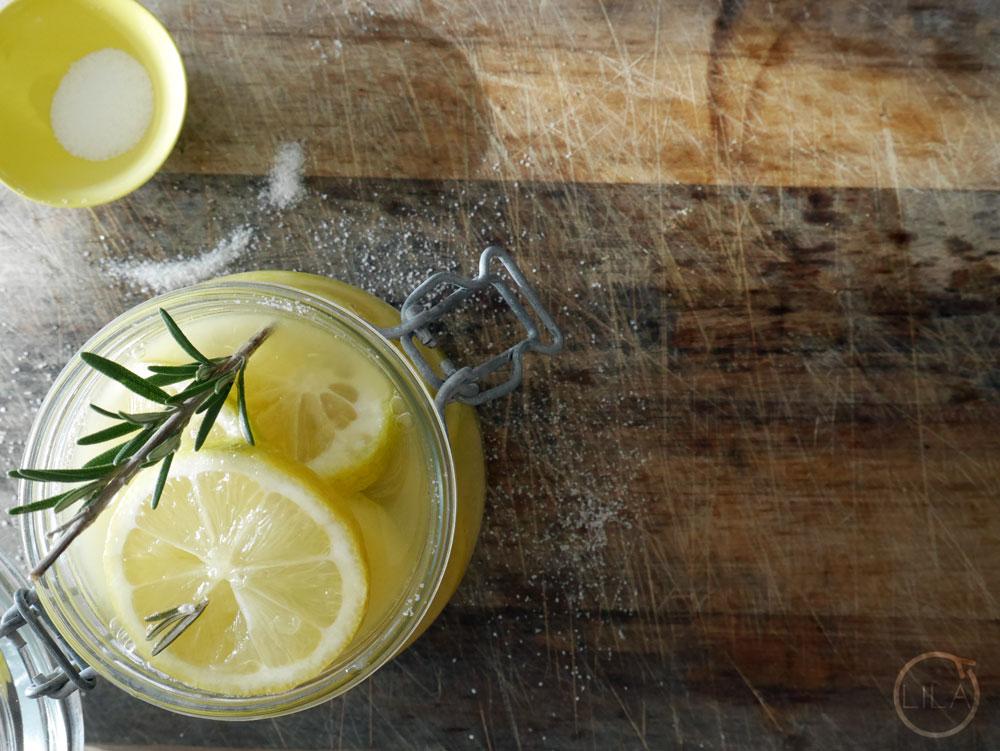 Sliced preserved lemons with rosemary