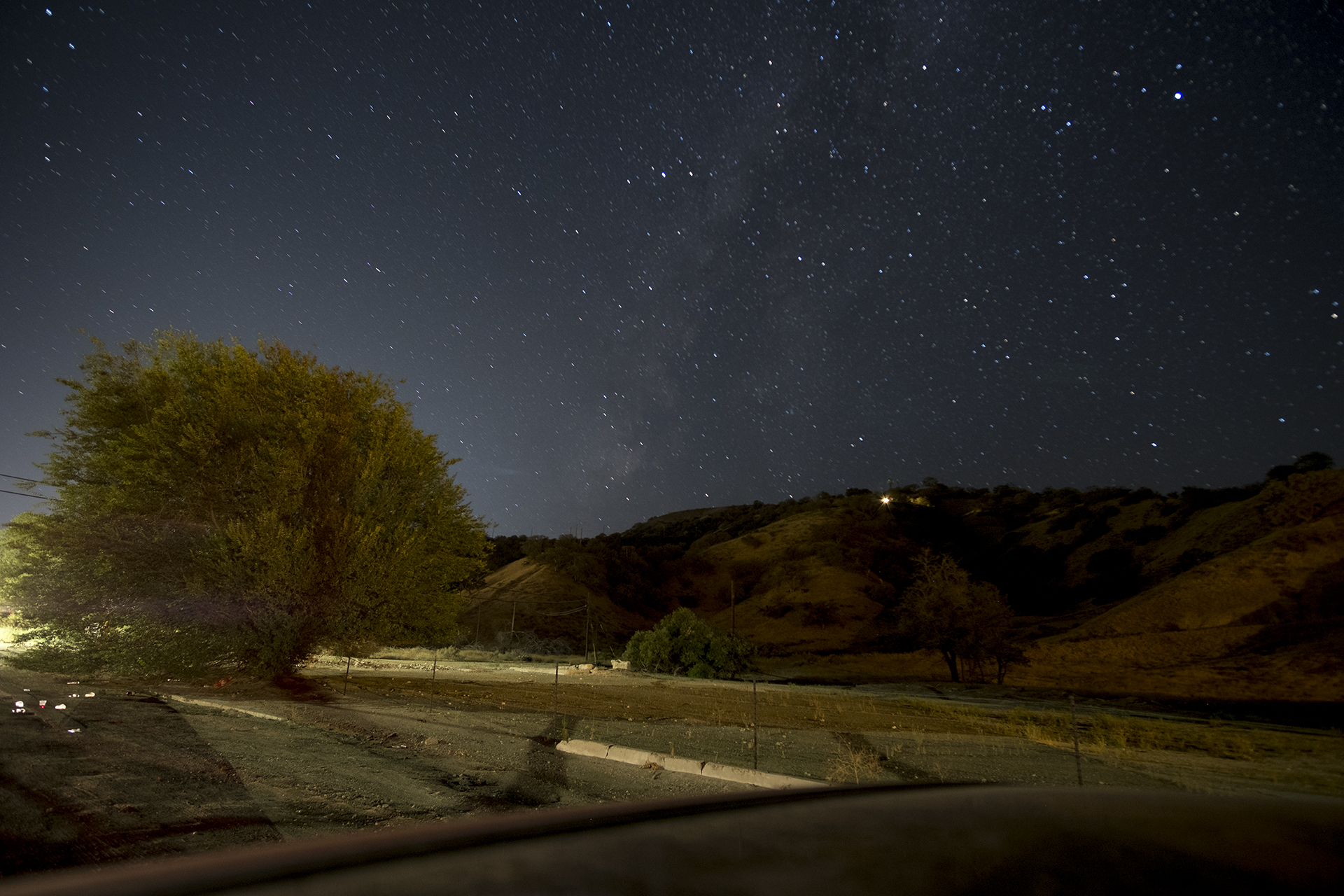 A stop along the road in Lebec to look at the Milky Way turned into making some of the first images that look like a visit to California.