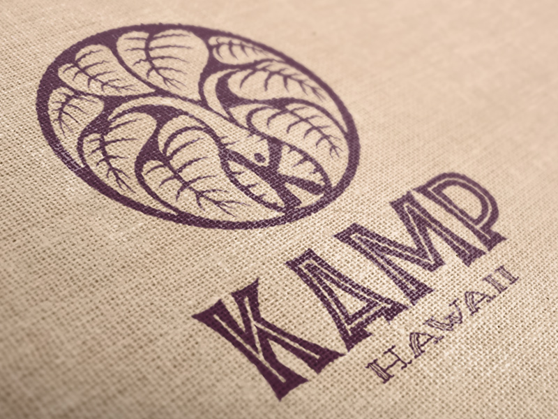 One color print on burlap.