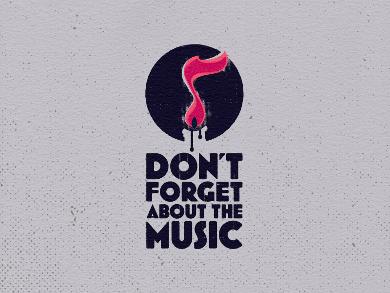 Don't Forget About the Music main logo, distressed variant