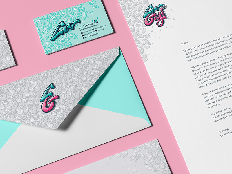 Stationery suite with Liv-specific business card.