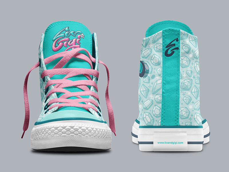 Liv-specific hi-top Chucks, front and back views.