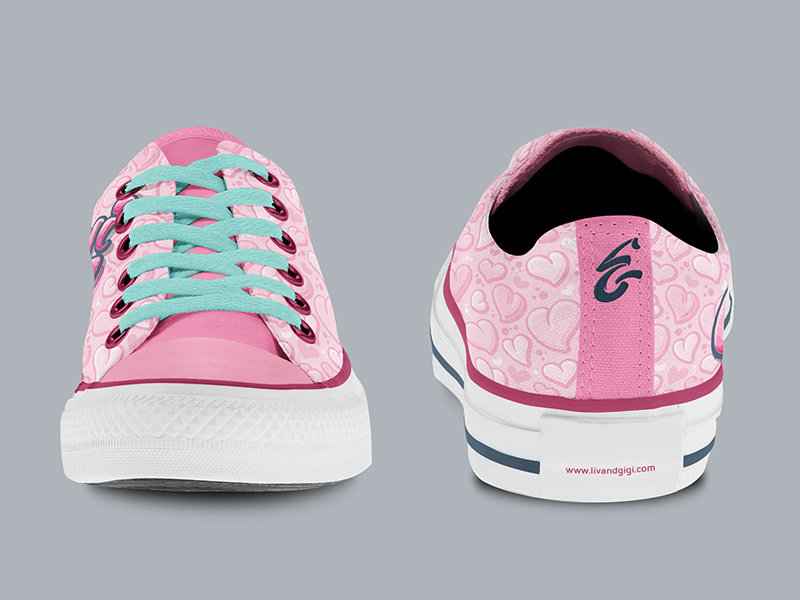 Gigi-specific low-top Chucks, front and back views.