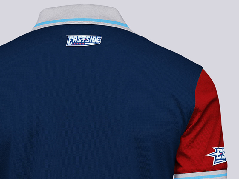 Coach's polo shirt detail, back