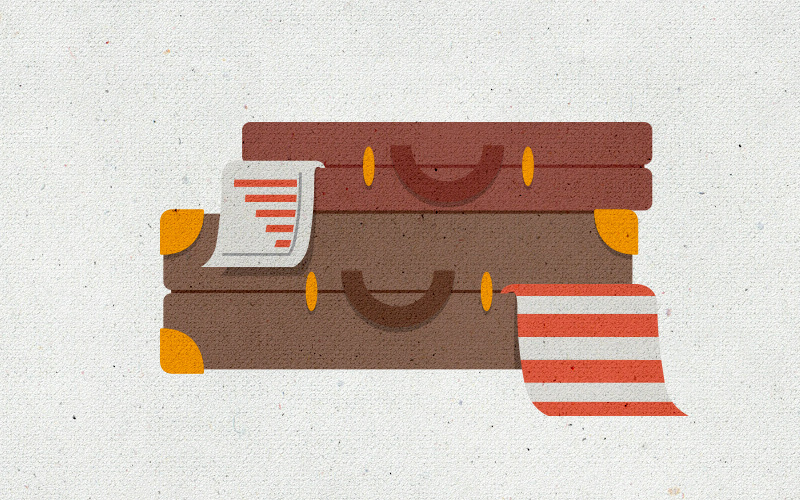 """This illustration suggests that Inspirato makes business travel easy, effortless, and enjoyable, and allows for a seamless integration of business and pleasure — thus the """"happy"""" suitcase and briefcase."""