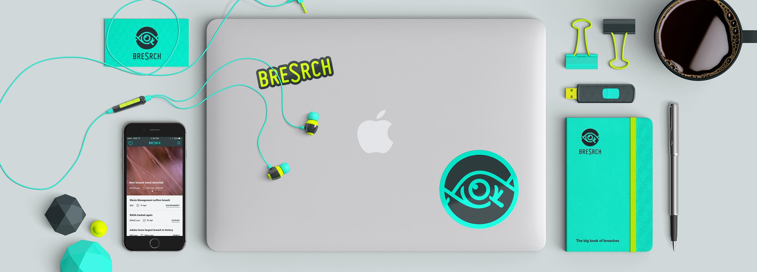 breSrch – Digital security breaches database app branding