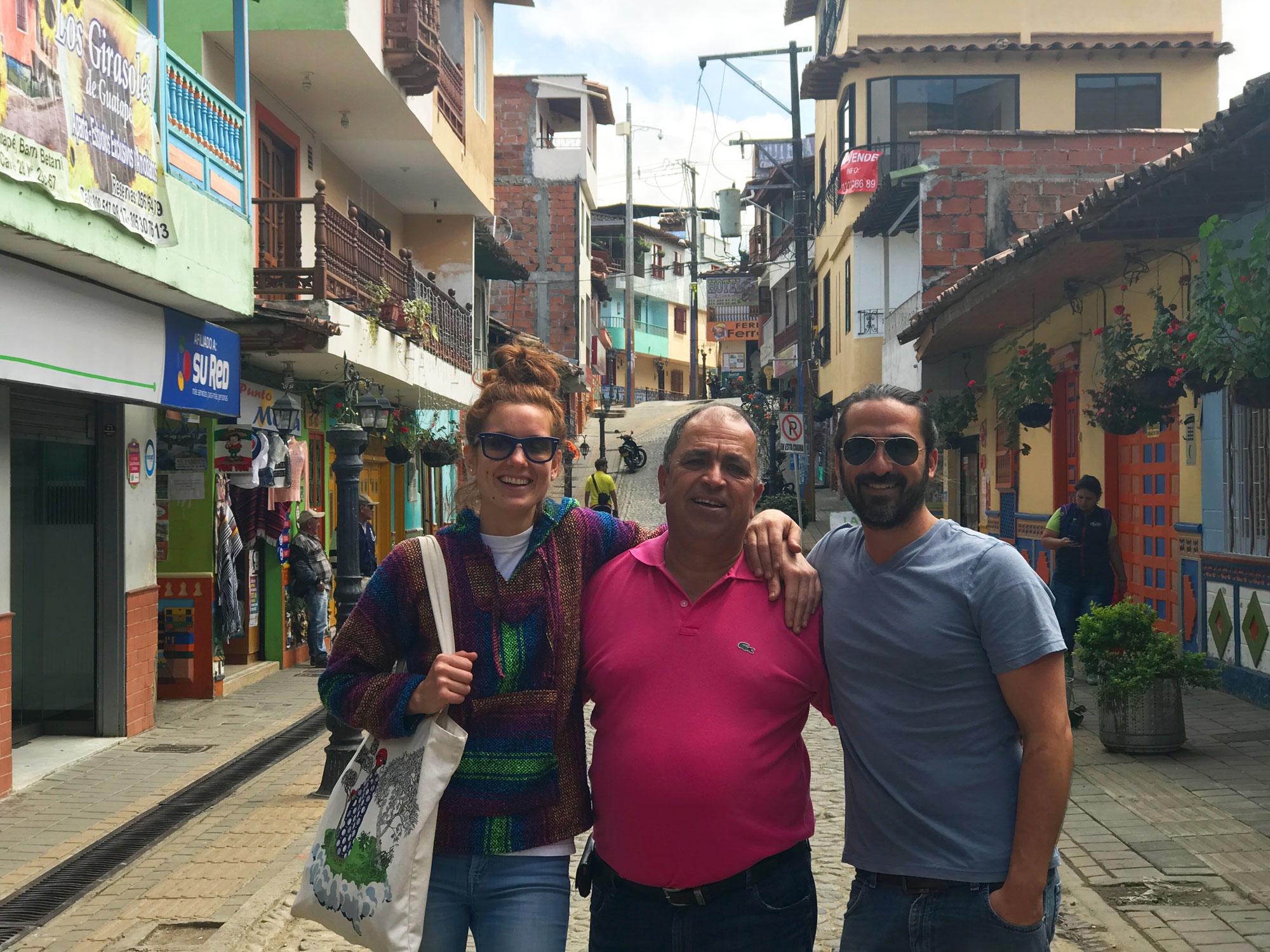 My friends Juli, Diego, and Juan in Guatapé