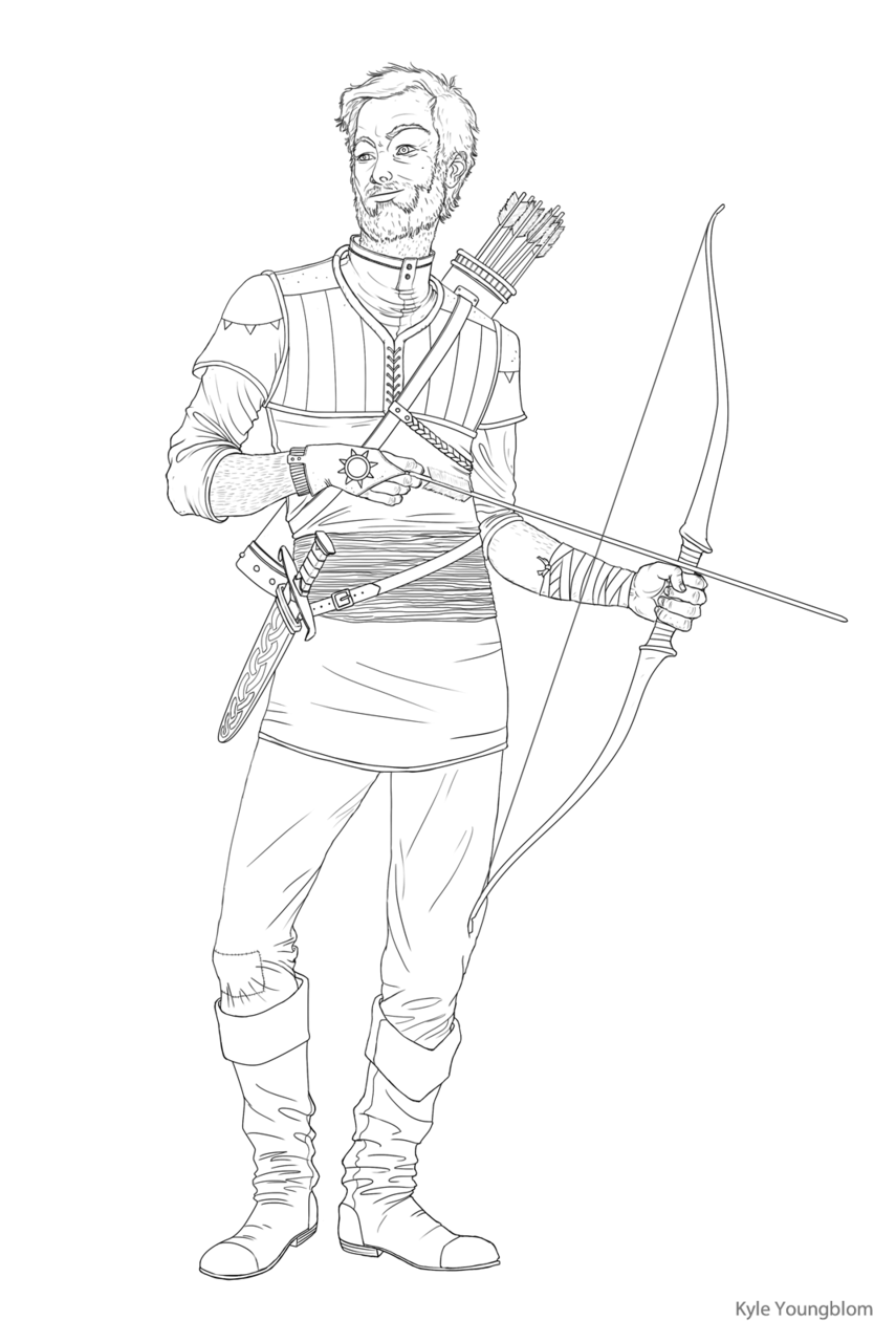 I ended up liking this line art better than the finished painting. More practice!