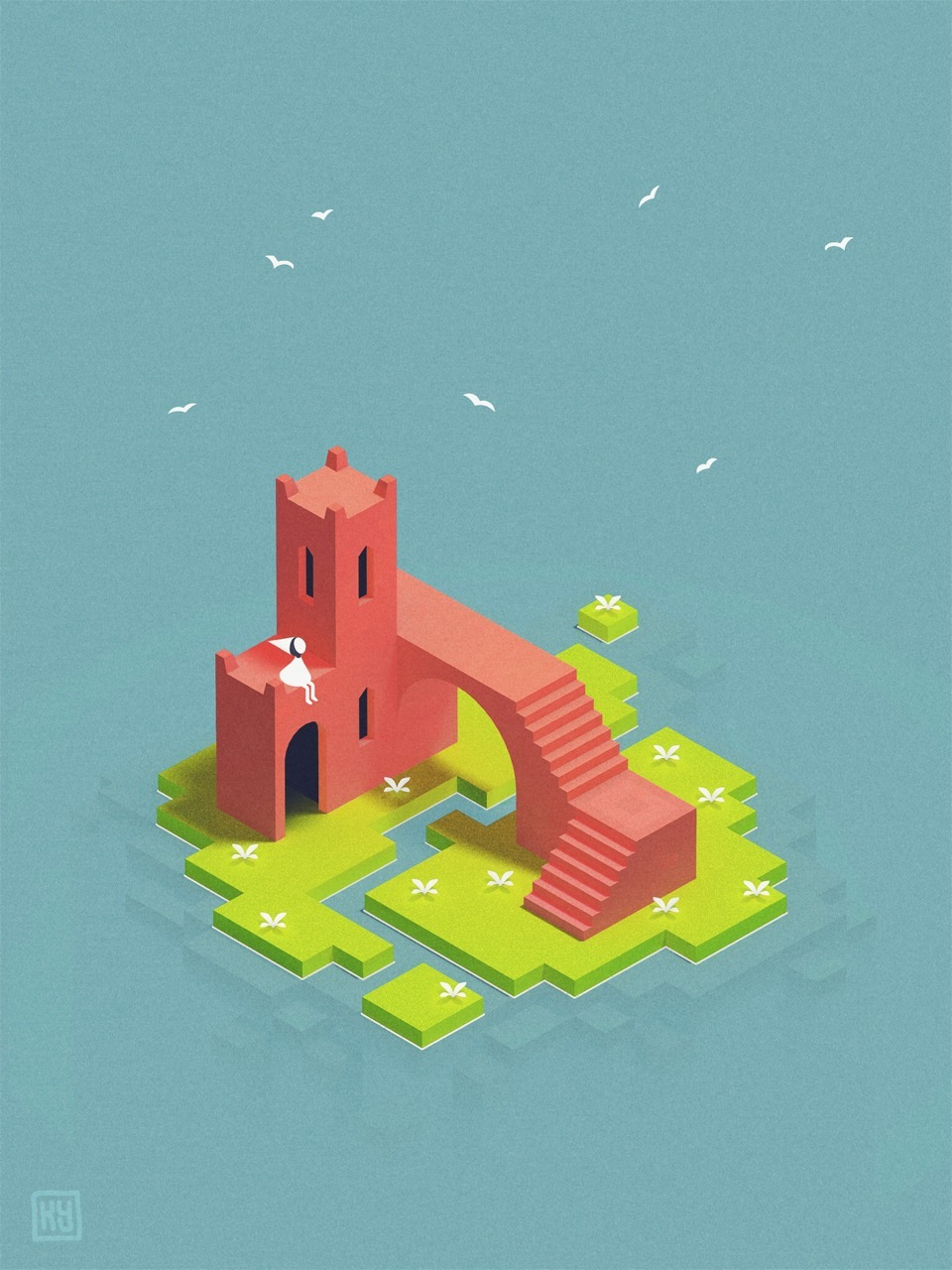 I finished Monument Valley yesterday. It meant so much to me that I just had to fan art a bit. Here's Ida chilling out on a little island in the sun.