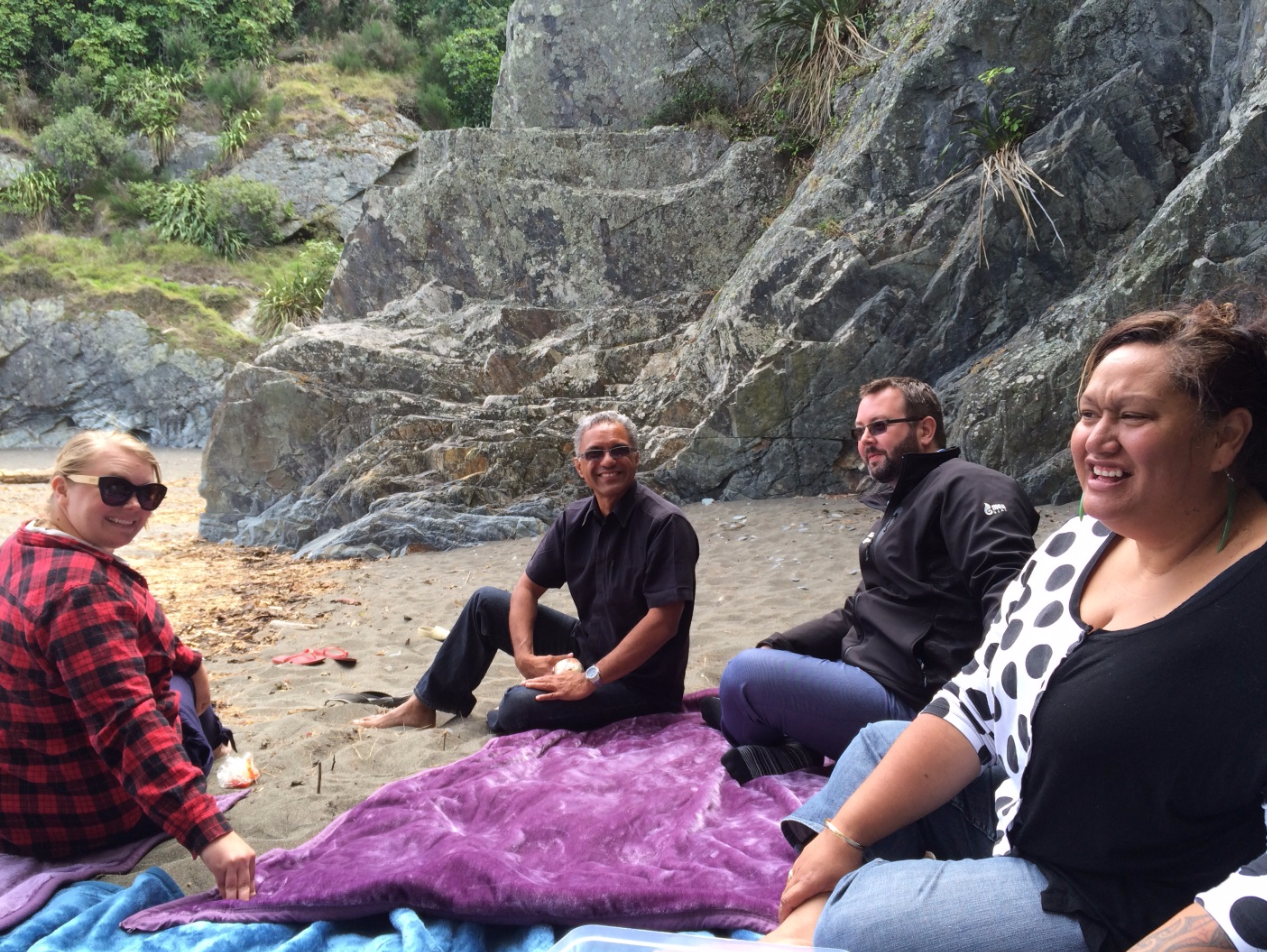 Taking in the landscape at Monkey Bay (Blenheim): Alice Matheson, Te Rā Morris (our Contract Advisor for Te Tauihu), Haydon Richards and Cazna Luke (Contract Advisor).