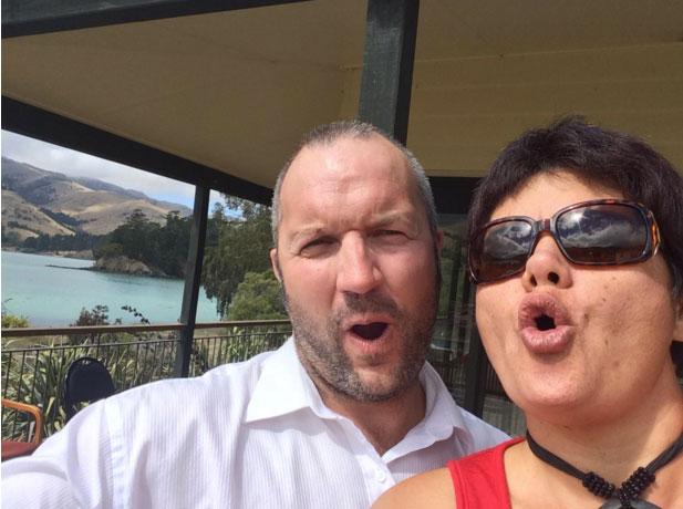 Koukourārata locals caught in the act of secret selfies – Manaia Cunningham (Project Manager for Koukourārata Wānanga Taiao) and Gina-Lee Duncan (Contract Advisor for Te Ha o Kawatiri).
