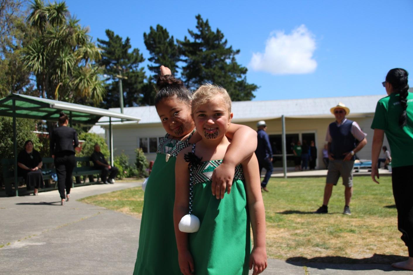 Mānia Ieremia and Tamairangi Norton, members of the Omaka Honomai kapa haka at the anniversary of the marae and launch of Pā Ora, Pā Wānanga.
