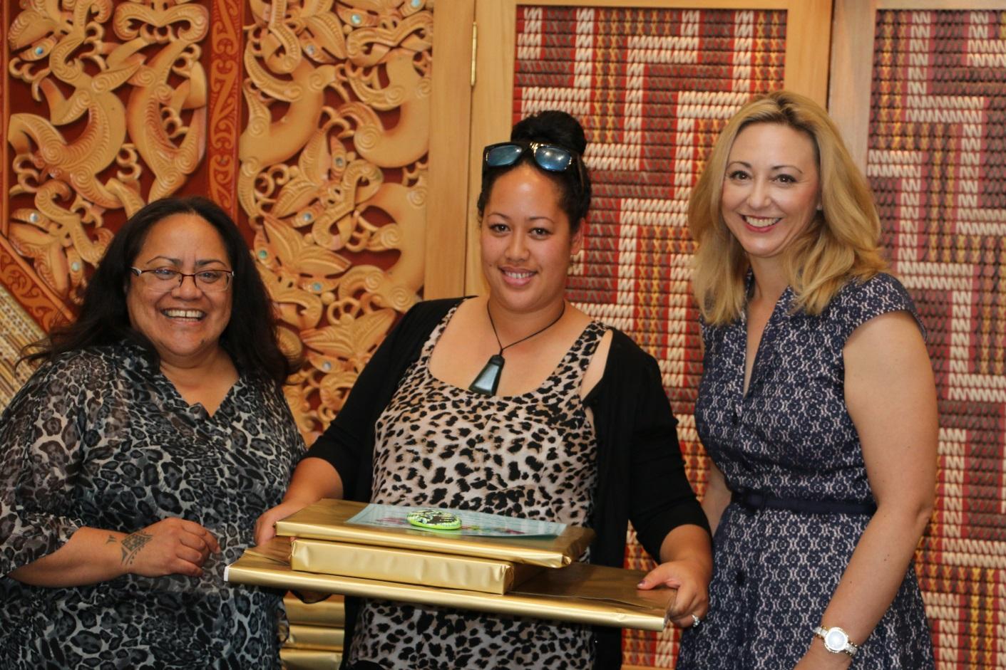 Maire Kipa, our Te Pūtahitanga o Te Waipounamu Navigator Coordinator, with Leigh Wickliffe, who was a graduate of the programme and Sarah Dowie, the National MP for Invercargill