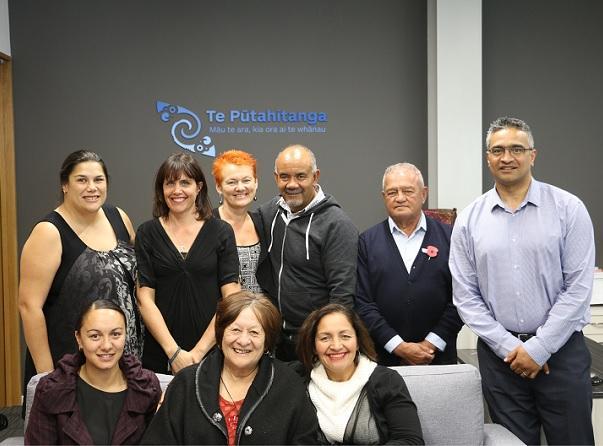 Back row  : Mata Cherrington and Prue Halstead (1000 Days Trust); Helen Leahy, Hon Te Ururoa Flavell, Norm Dewes, GPL Board Chair and GPL Board member, Donovan Clarke.    Front row  : Coach Aimee Kaio; Taumata Chair, Molly Luke and Māori Party MP Marama Fox.
