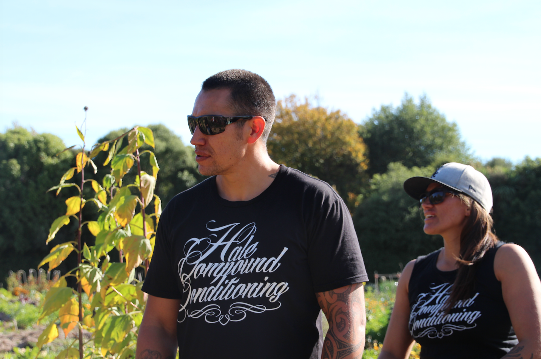 Hale Compound Conditioning visionaries, Korey and Manu Hale, at their maara kai at Wai Ora Trust