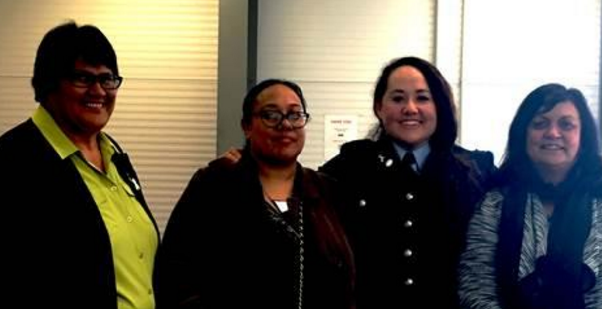 Tū Pono in the House: Practitioner Wai Gage, with Director Ariana Mataki-Wilson; National Integrated Safety Response Director Superintendent Tusha Penny and Practitioner Carole Frost.