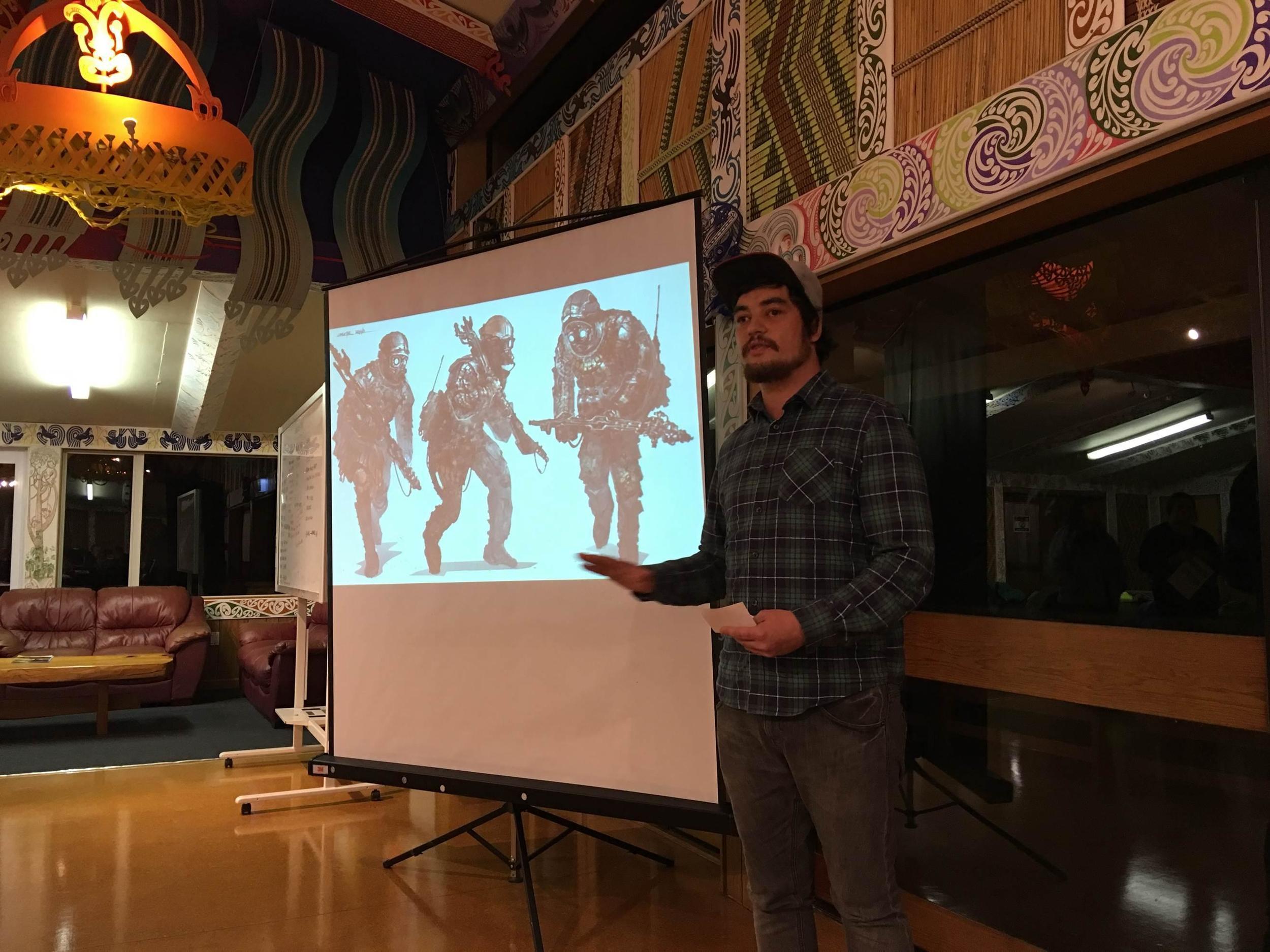 Tyrone Strongman explaining the concept of Scavenger City.