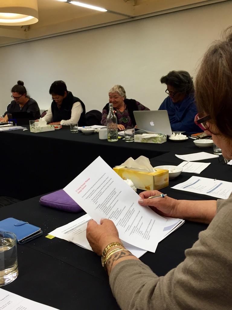 Members of Te Taumata hard at work: Gena Moses-Te Kani (Te Rūnanga o Ngāti Kuia); Glenice Paine (Te Atiawa o Te Waka a Māui), Barbara Greer (Ngāti Apa ki te Rā To), Tarina Macdonald (Te Rūnanga o Rangitane o Wairau) with at the forefront, Whaea Molly Luke, Te Taumata Chair (Ngāti Rarua)