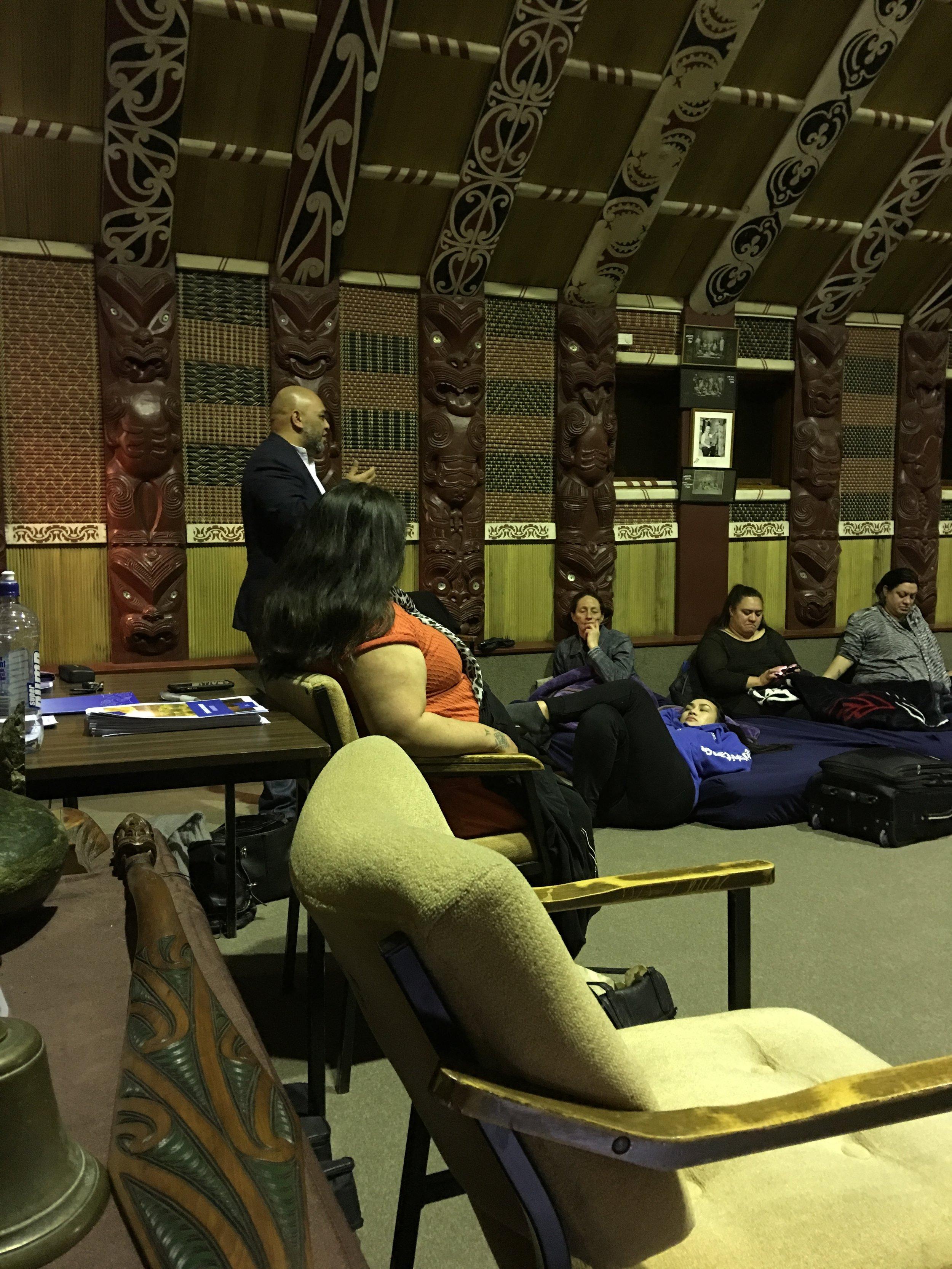 Raniera Dallas, sharing his ideas around suicide prevention in the whare at Rehua Marae.