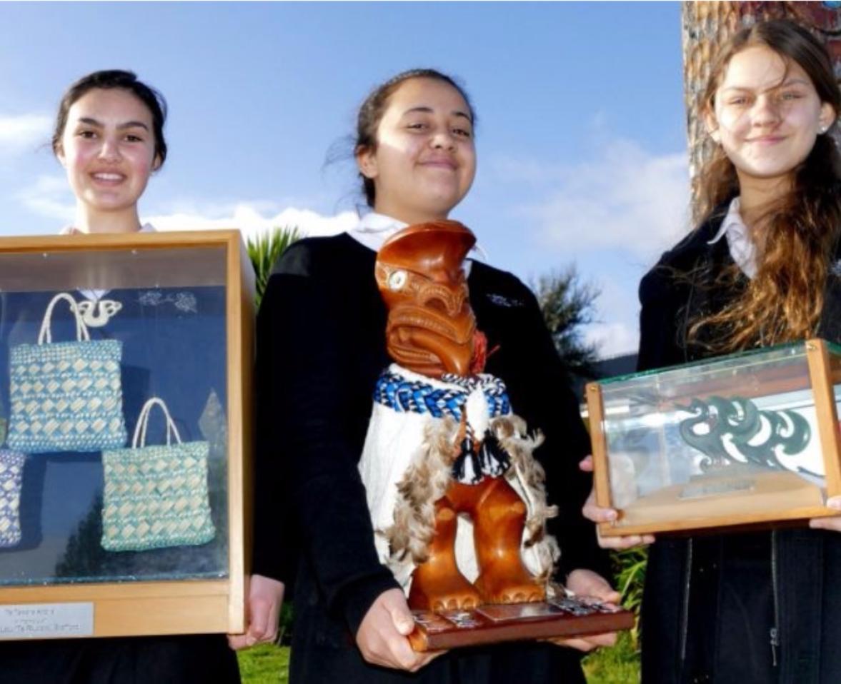 Te Kura Kaupapa Maori o Tuia Te Matangi students: Ebony Alleyne, Elizabeth Lucas and Sonaia Beard Photo: Simon Bloomberg.