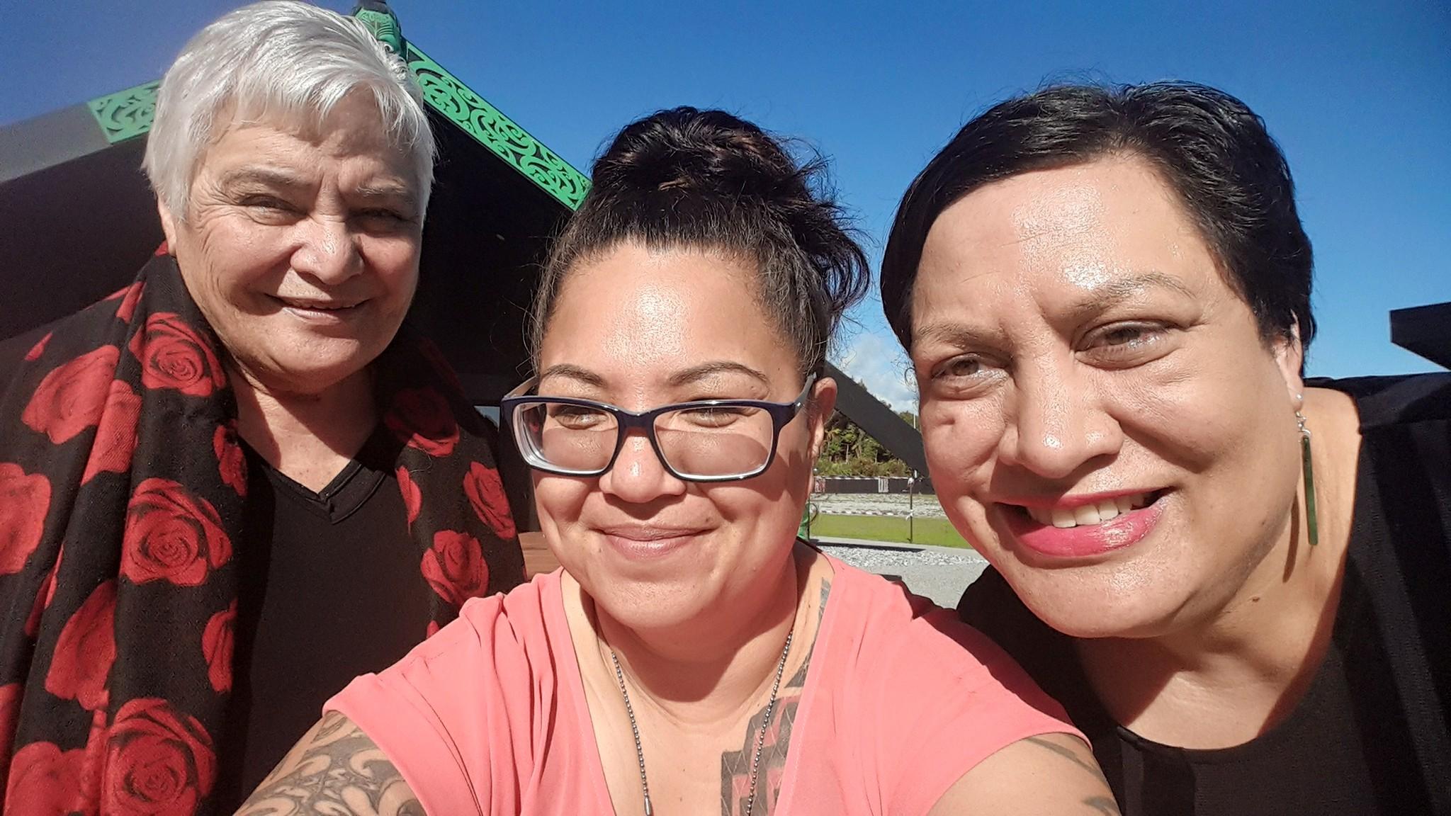 Dame Tariana, Marg Henry (Project Manager, Tū Pono) and Maania Farrar (Commissioning Manager for Te Pūtahitanga o Te Waipounamu).