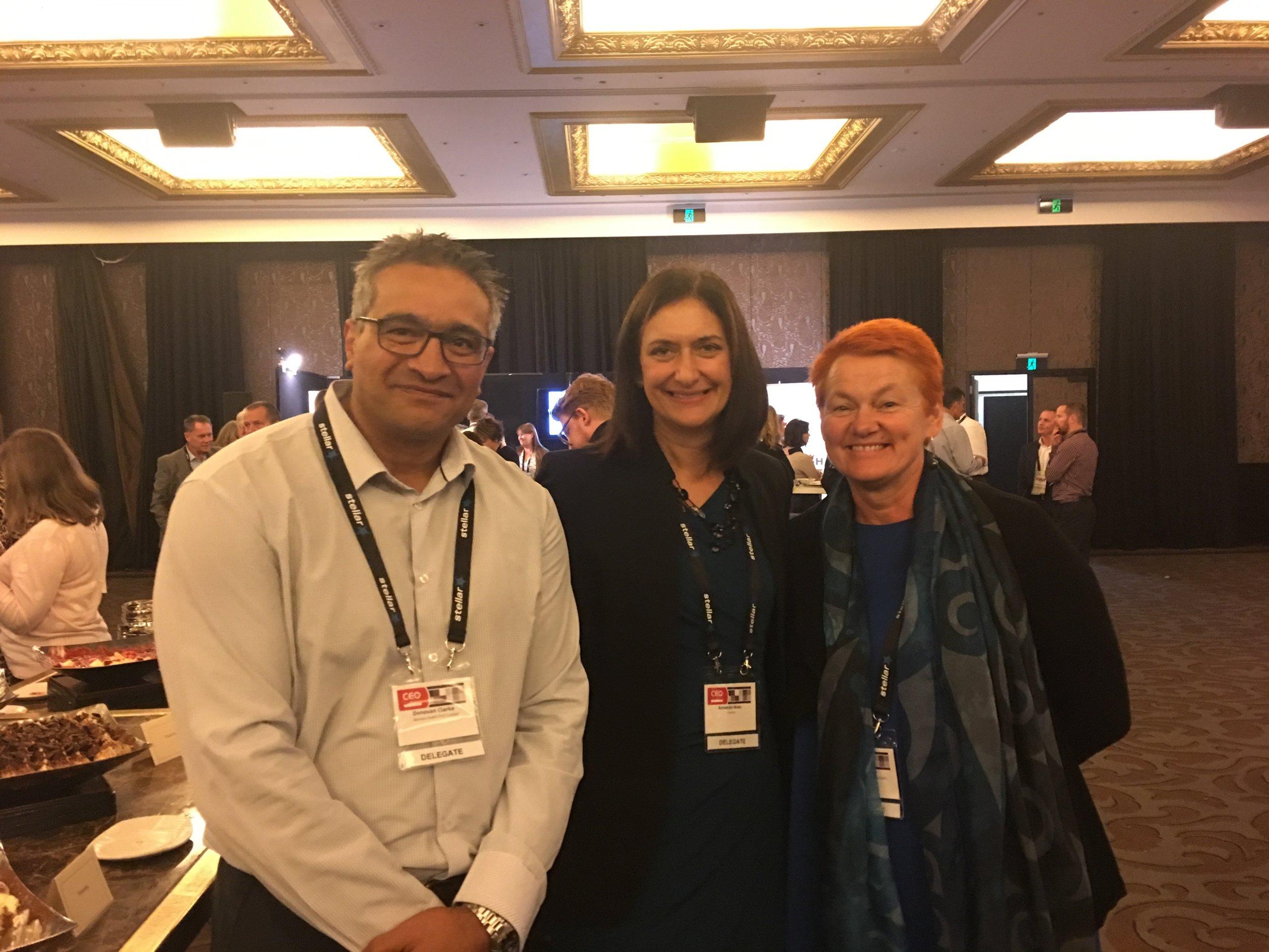 With Donovan Clark (Board Director for GPL); Amanda Malu (Chief Executive of Plunket / Ngāi Tahu) .