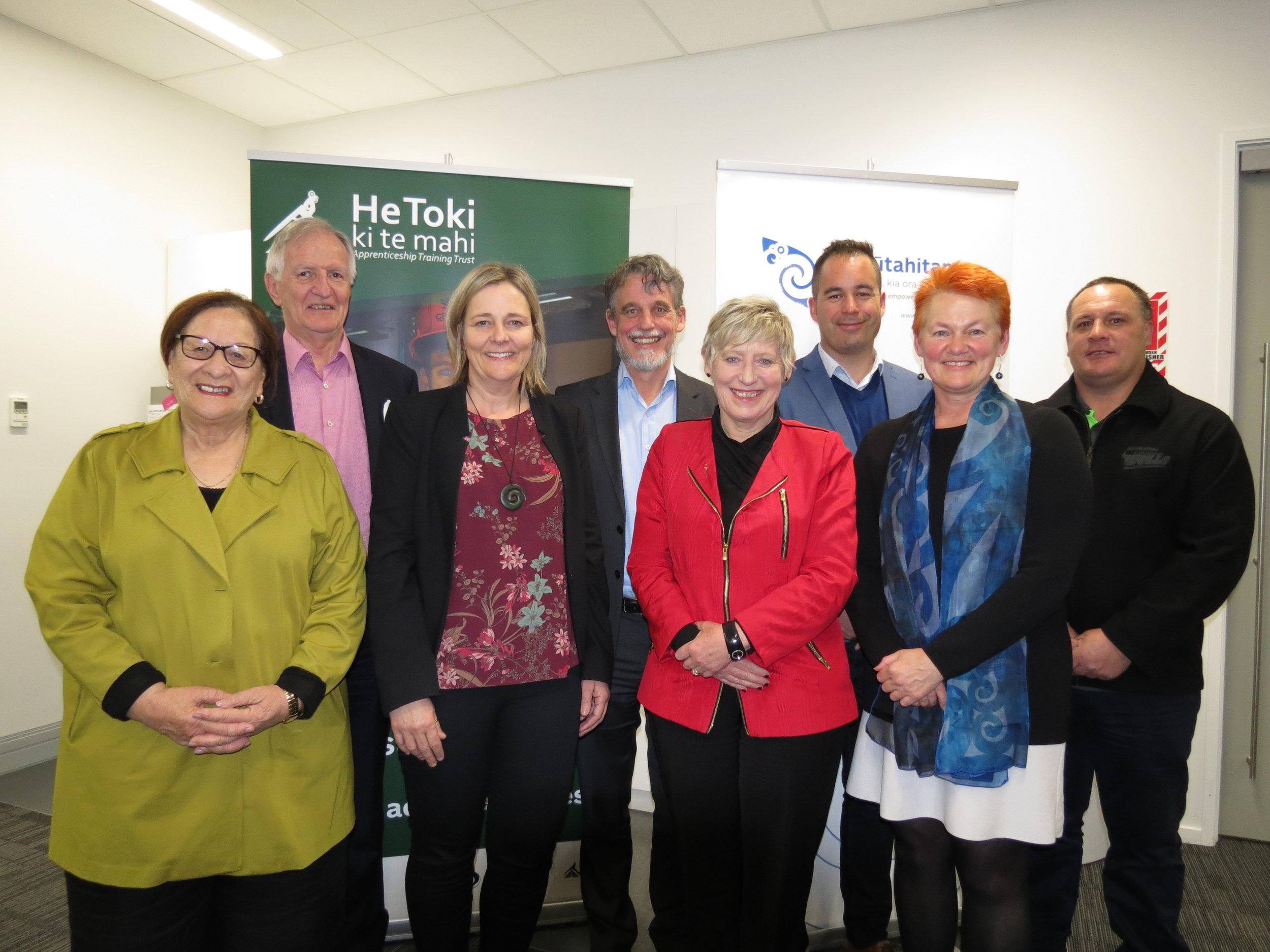 Board Chairs: Molly Luke and Trevor Taylor; Dr Catherine Savage, Professor Paul Dalziell, Hon Lianne Dalziell, Mayor of Christchurch, Eruera Tarena, Helen Leahy, Mathias Pitama