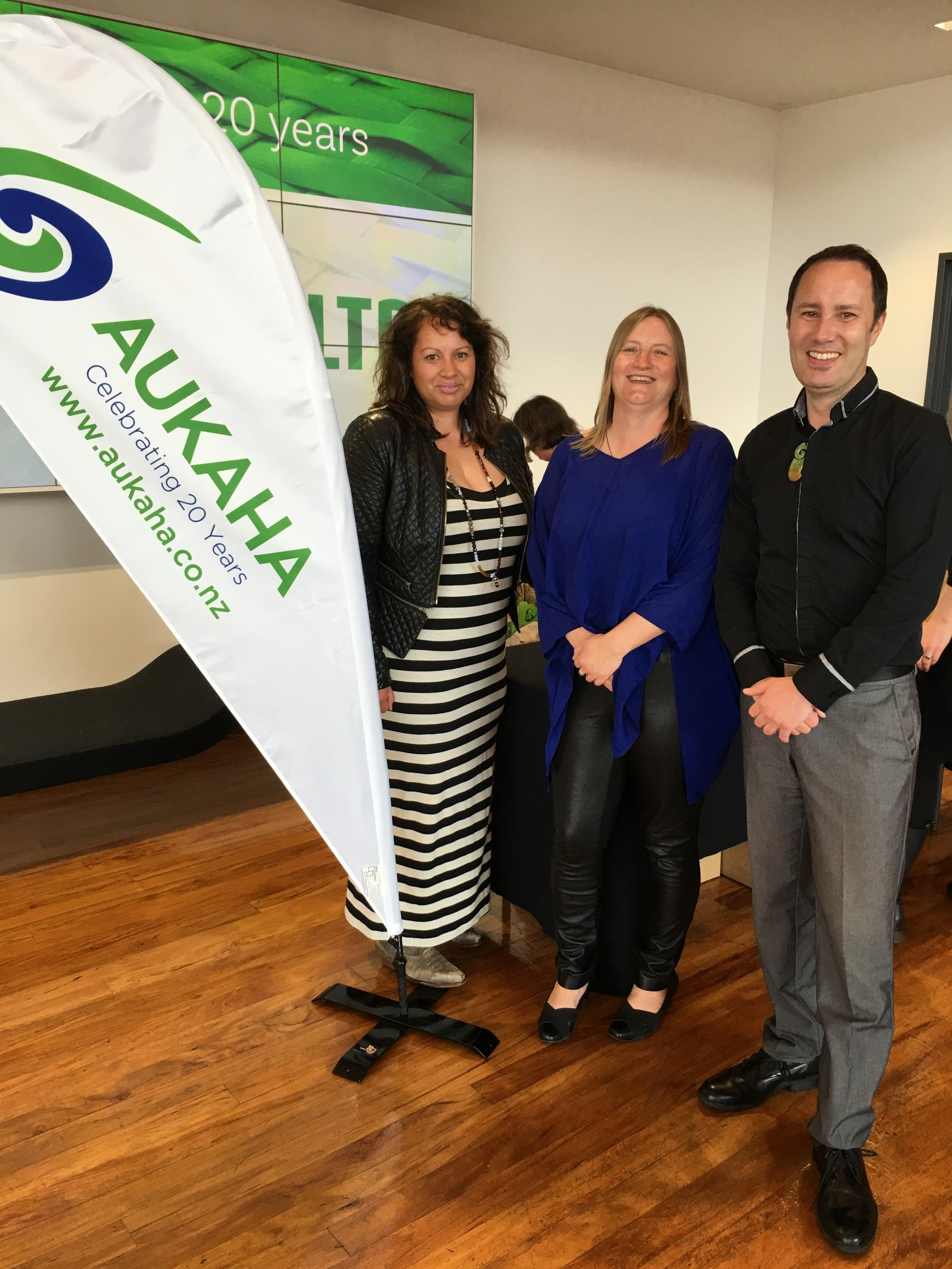 Kara Edwards and Maria Bartlett (Te Runanga o Ngai Tahu) with Chris Rosenbrock, General Manager KTKO