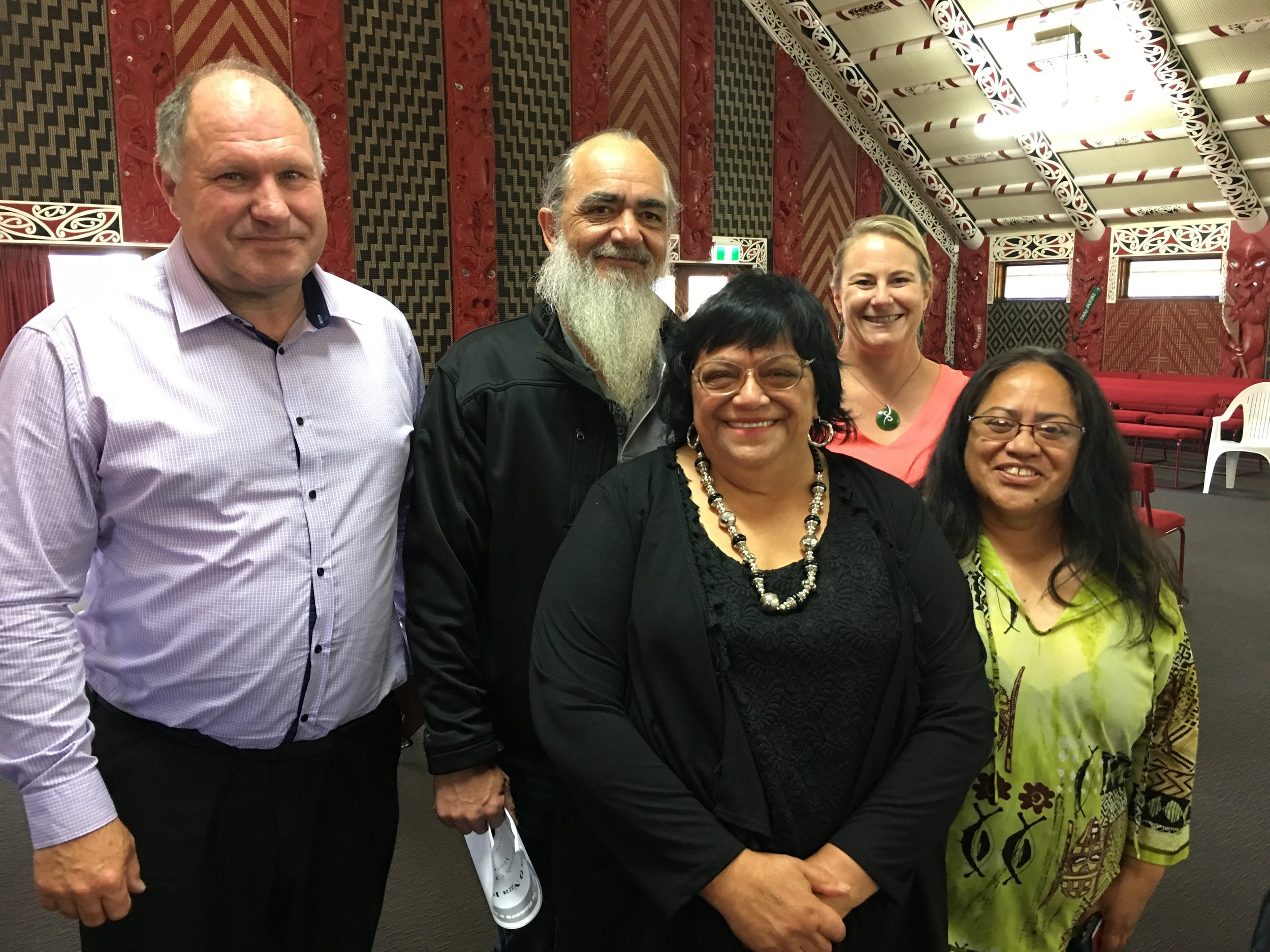 David Cairns (Pegasus Health); Stephen Trent and Dr Melissa Cragg (Ngati Rarua Hauora) with Koka Alamein and Maire Kipa