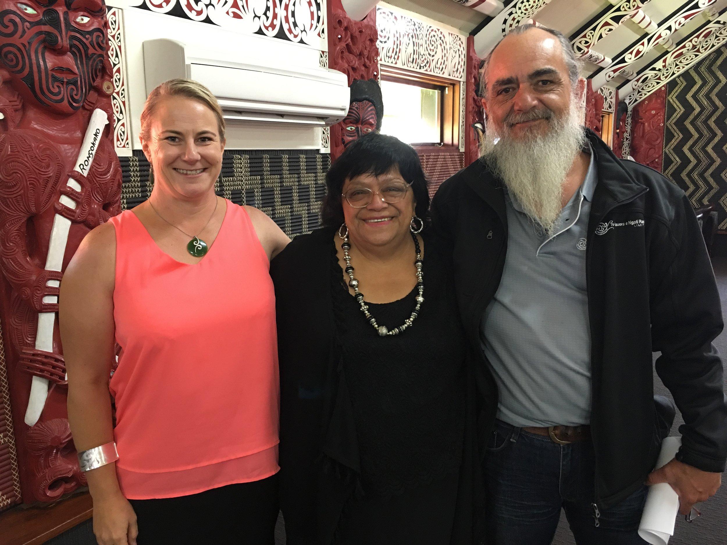 Stephen Trent and Dr Melissa Cragg (Ngati Rarua Hauora) with Koka Alamein
