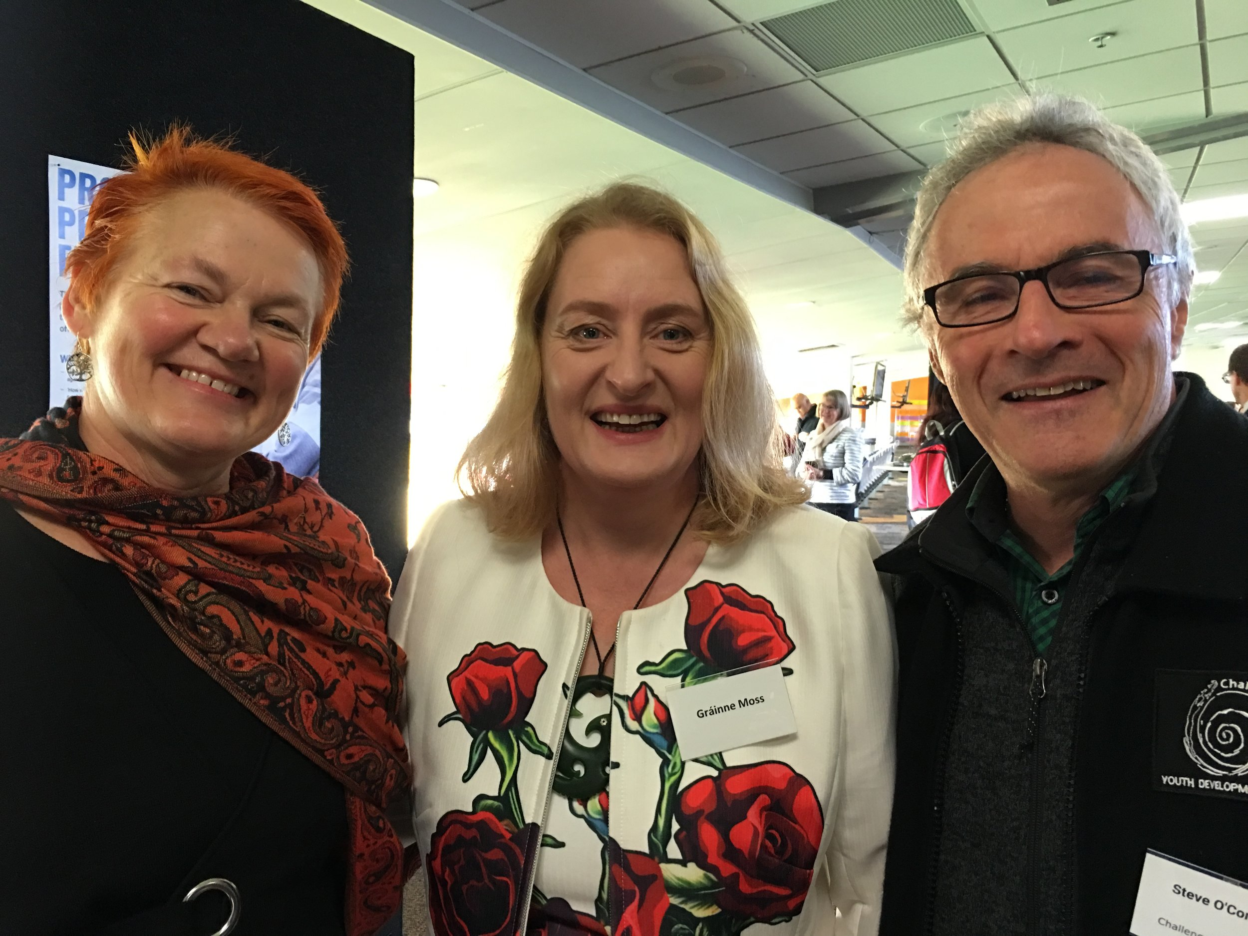 The Irish connection: Grainne Moss (Chief Executive of Oranga Tamariki – and a new cousin I made at the forum: Steve O'Connor.