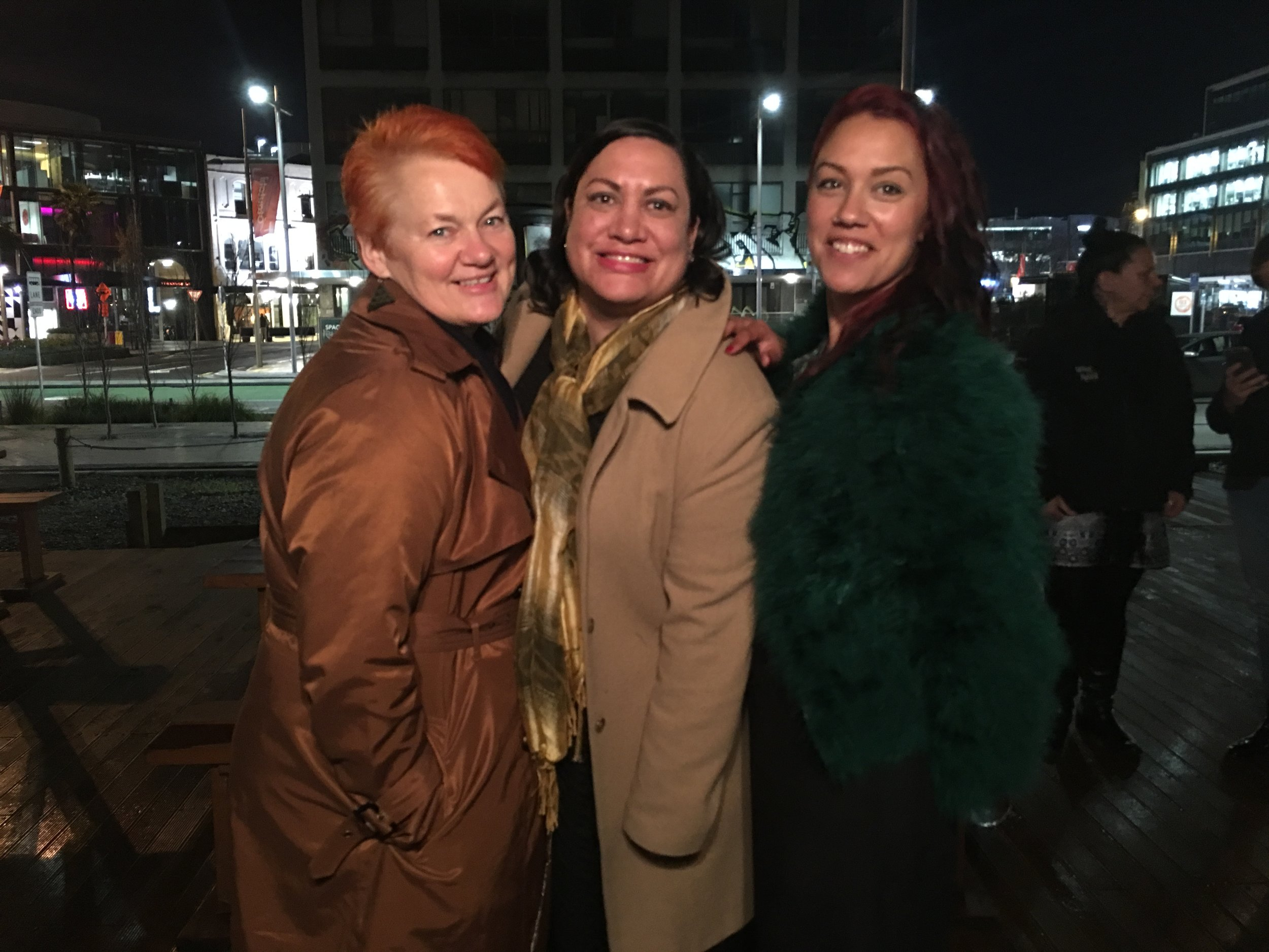Helen Leahy, Maania Farrar and Jade Temepara on opening night of He Kakano
