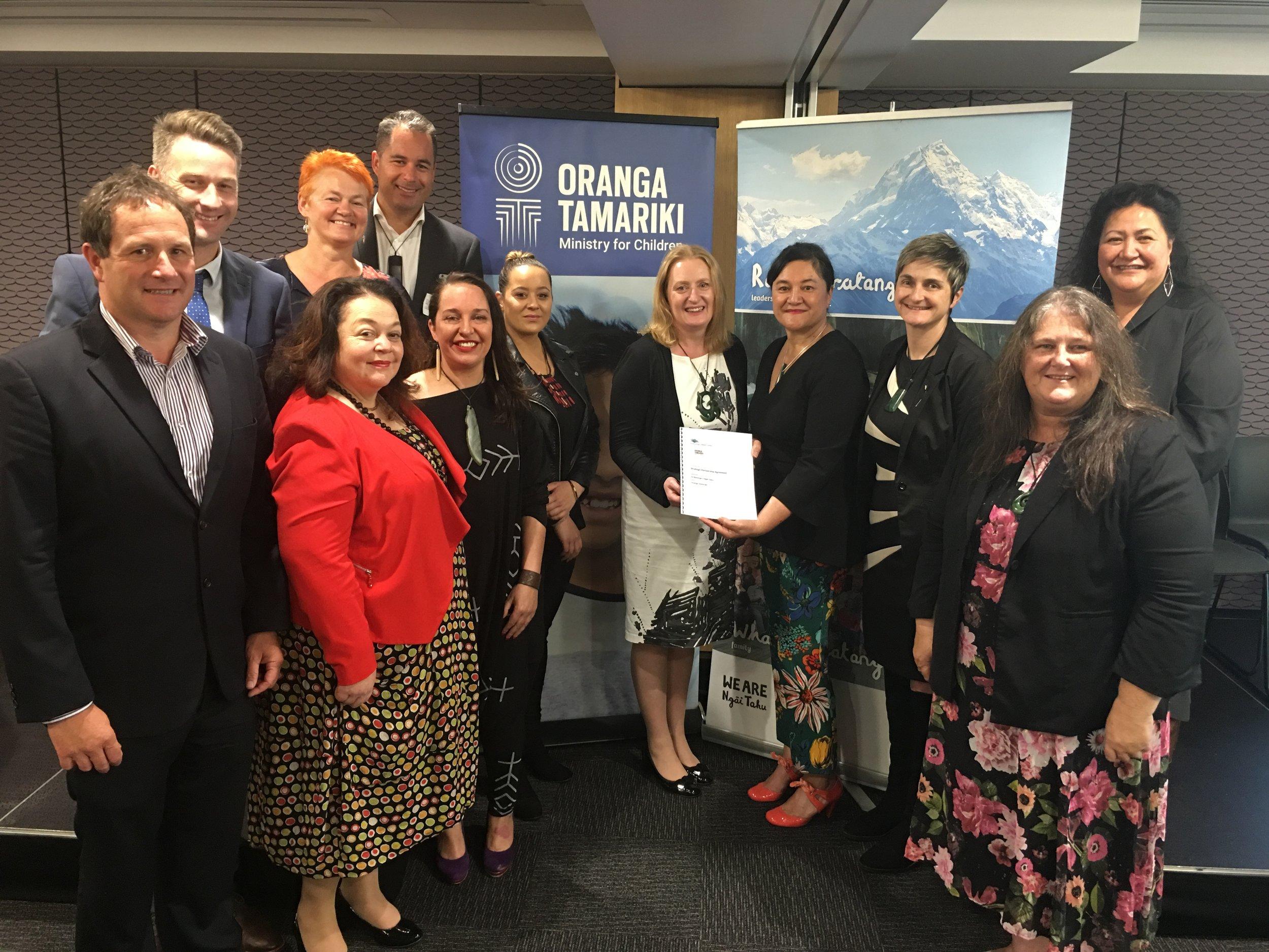 The team from Oranga Tamariki and Te Runanga o Ngai Tahu that came together for the signing of the strategic partnership.