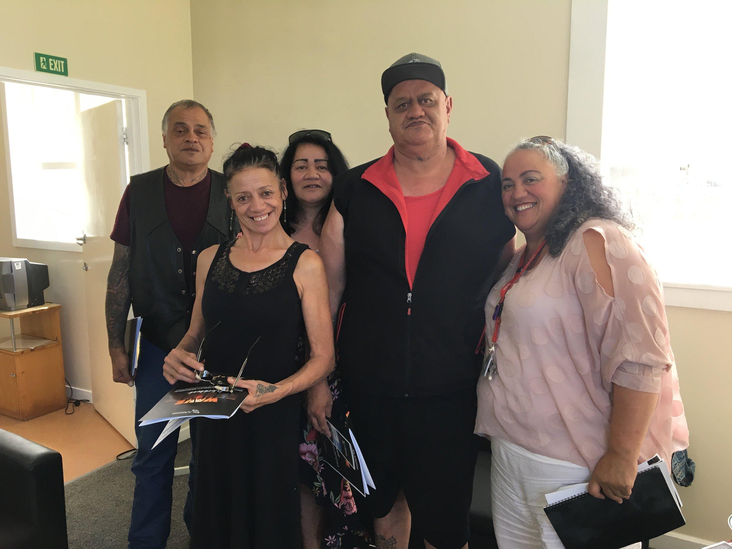The McDonald whānau at the Wave Nine workshop in Westport: Wayne, Anituhia, Donna, Russell, Rehia