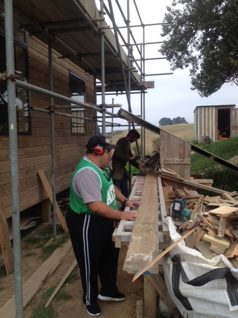Working with Tom the builder - weatherboards going on