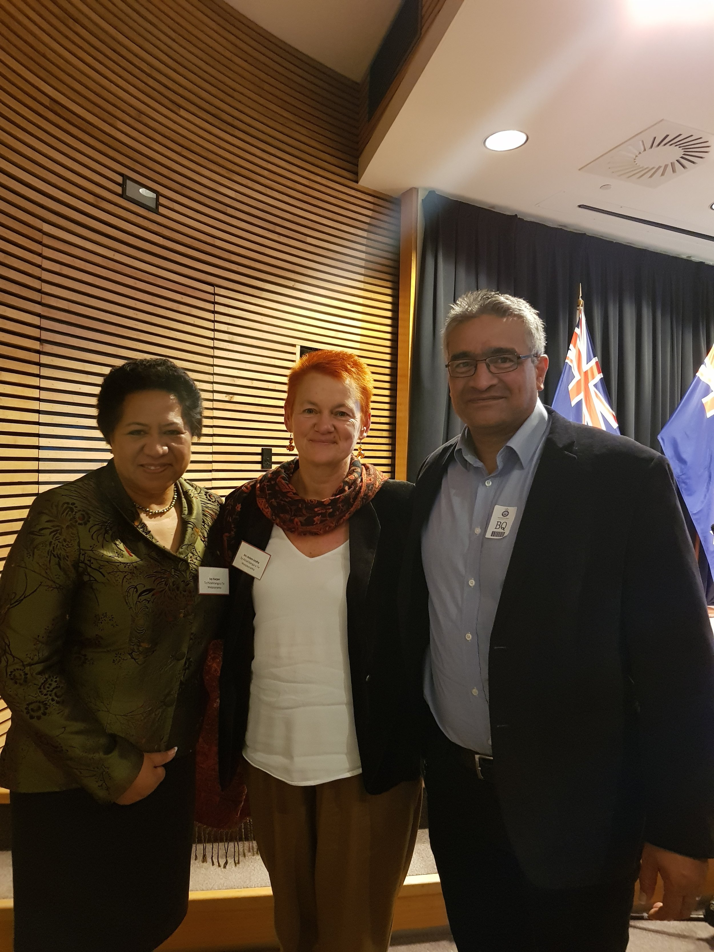 Ivy Harper, Helen Leahy, with GPL board member, Donovan Clarke, at the Budget lockup