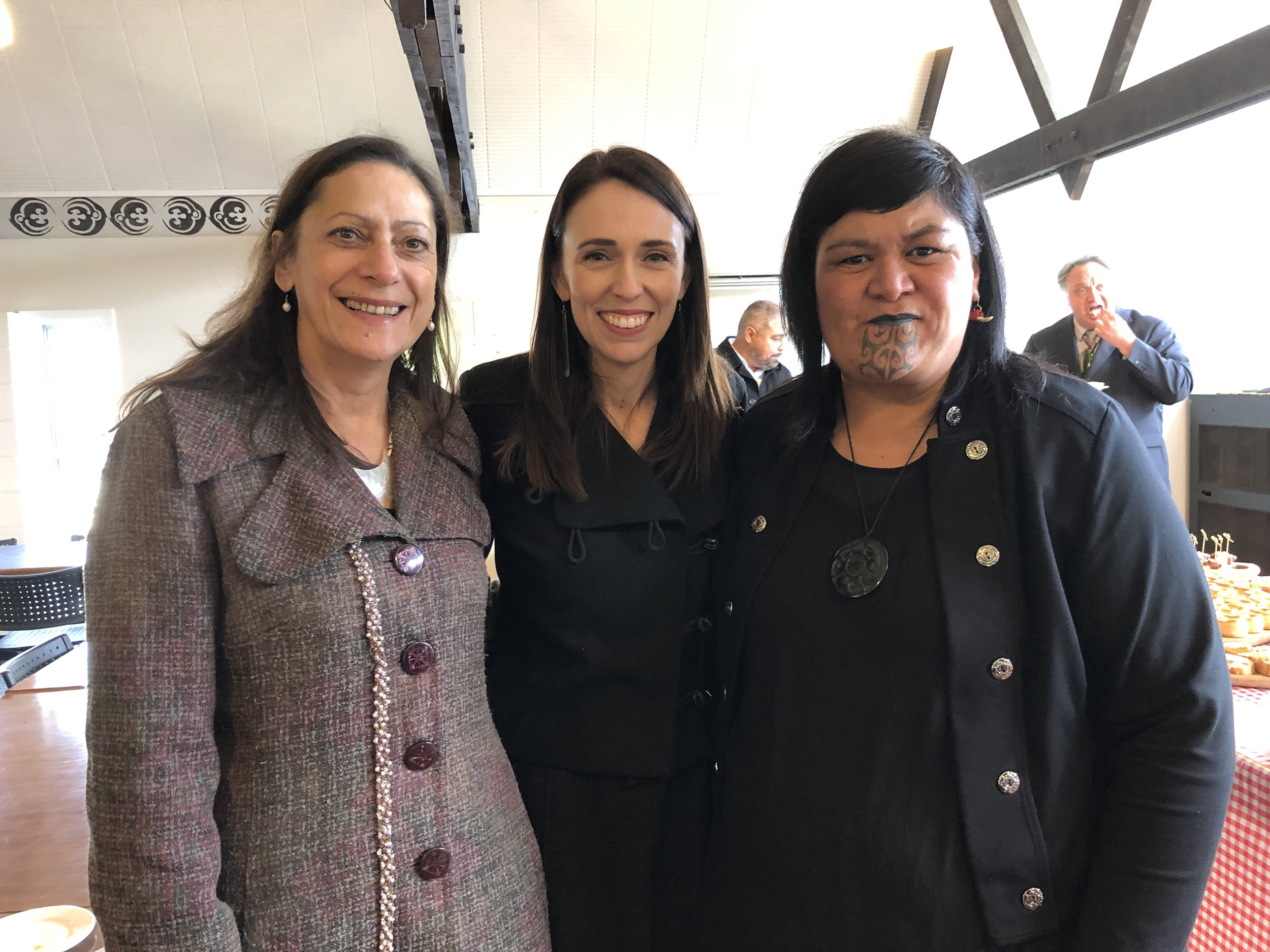 The Prime Minister, Rt Hon Jacinda Ardern and Minister for Māori Development, Hon Nanaia Mahuta, with newest minister, Hon Poto Williams, Minister for Community and Voluntary Sector.