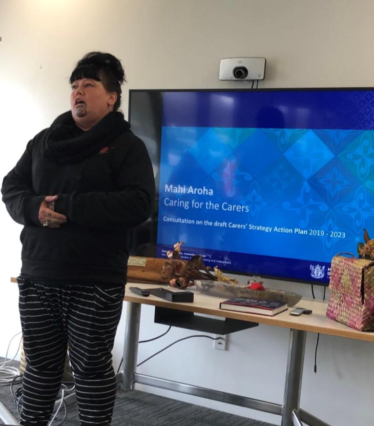 Photo depicts Waikura McGregor sharing her experience as a Whānau Ora Navigator for Hei Whakapiki Mauri.