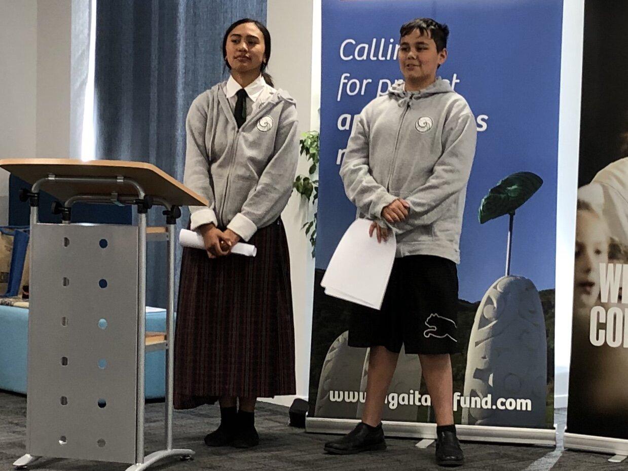 Rongomaiwhiti and Waitākoha of Te Kura Kaupapa Māori o te Whānau Tahi were brilliant to representatives for rangatahi at the launch of the new RUIA kaupapa on Monday.