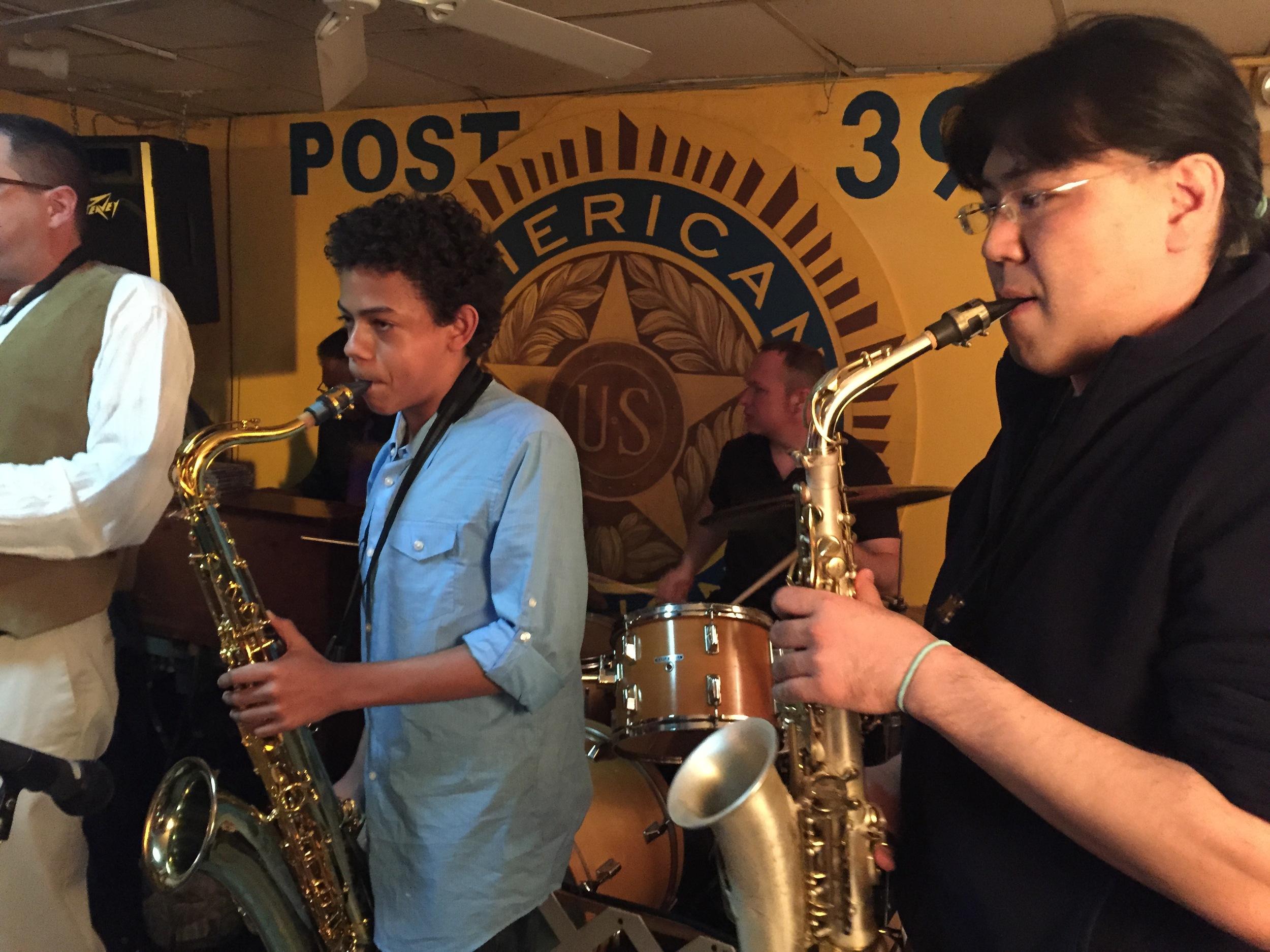Emilio Modeste in Harlem playing with  Seleno Clarke's Harlem Groove Band