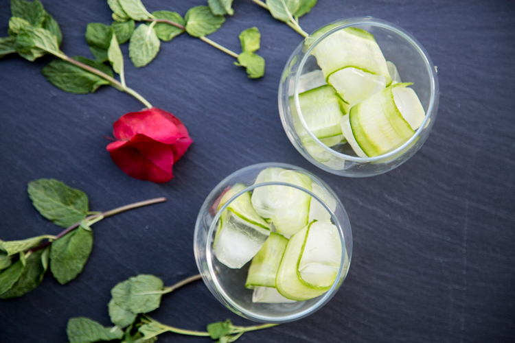 Cucumber Wrapped Ice Cubes from #HappyHourClub: The Franklin featuring Art in the Age's Rhubarb Tea