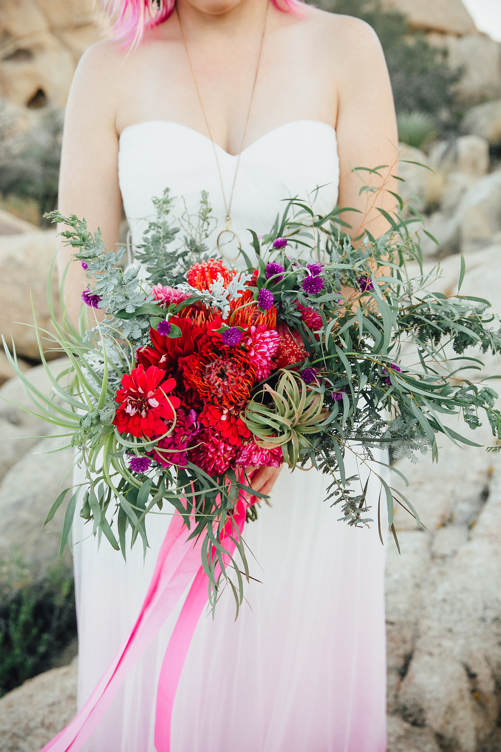 Wedding Bouquet featuring cactus and succulents / Joshua Tree, CA