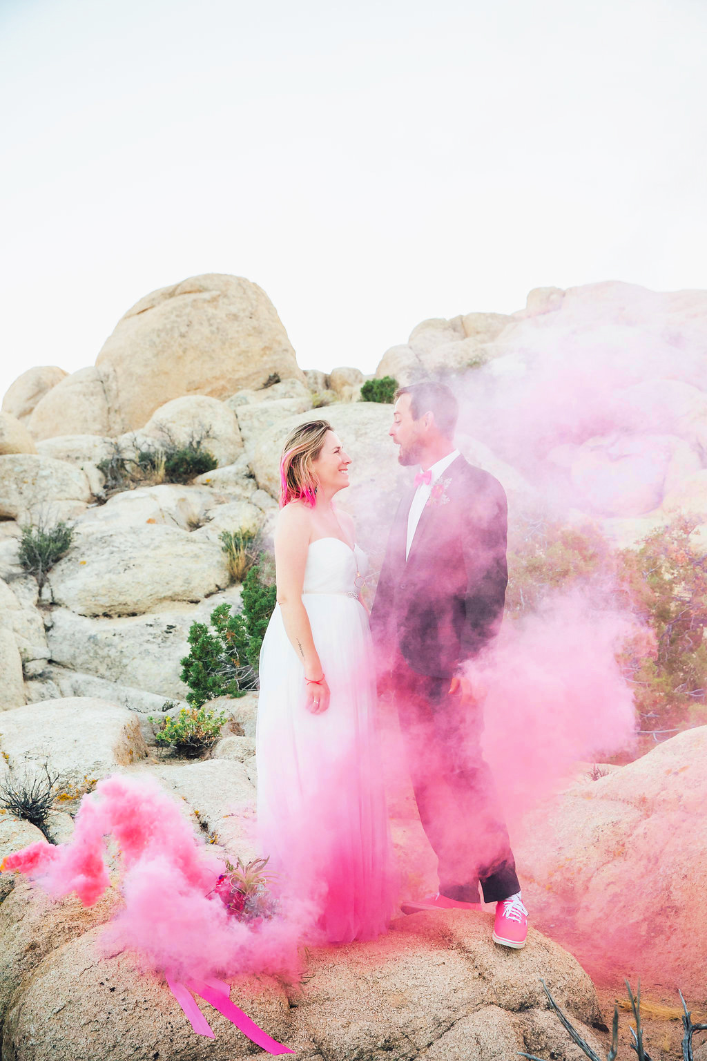 Pink Smoke Wedding / Joshua Tree, CA